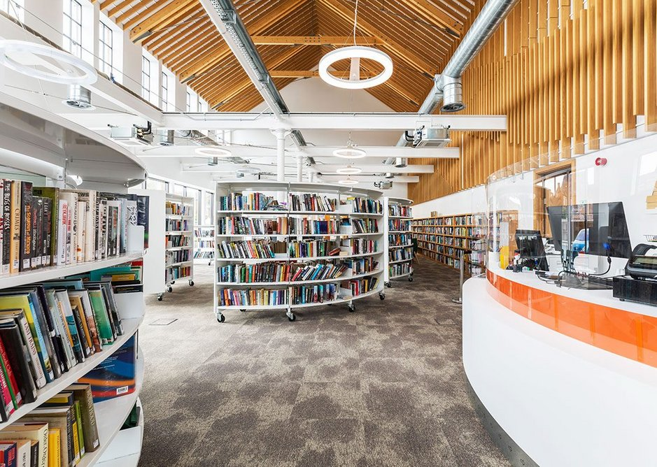 Inside the new library – originally a music hall, then a factory. Credit Glancy Nicholls Architects