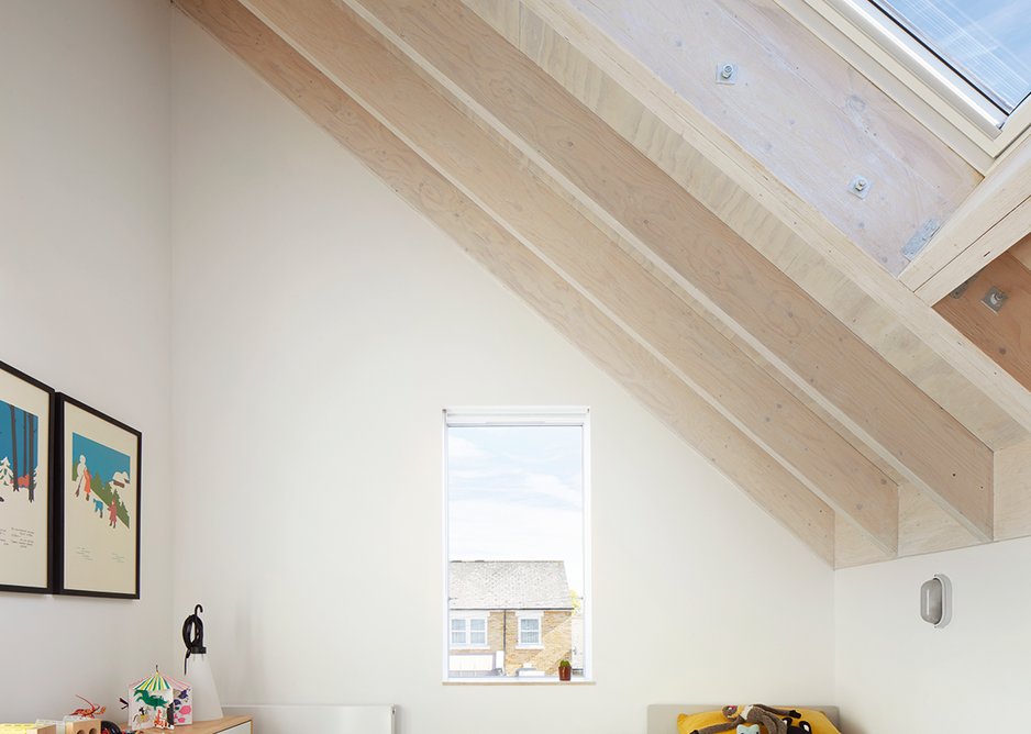 The children's bedroom indulges scale changes in the roof pitch.