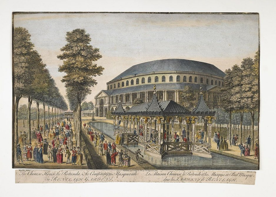 The Chinese House, the Rotunda, & the Company in Masquerade in Renelagh Gardens 1751 (c) Museum of London. The ornamental canal is thought to have been fed by the River Westbourne.