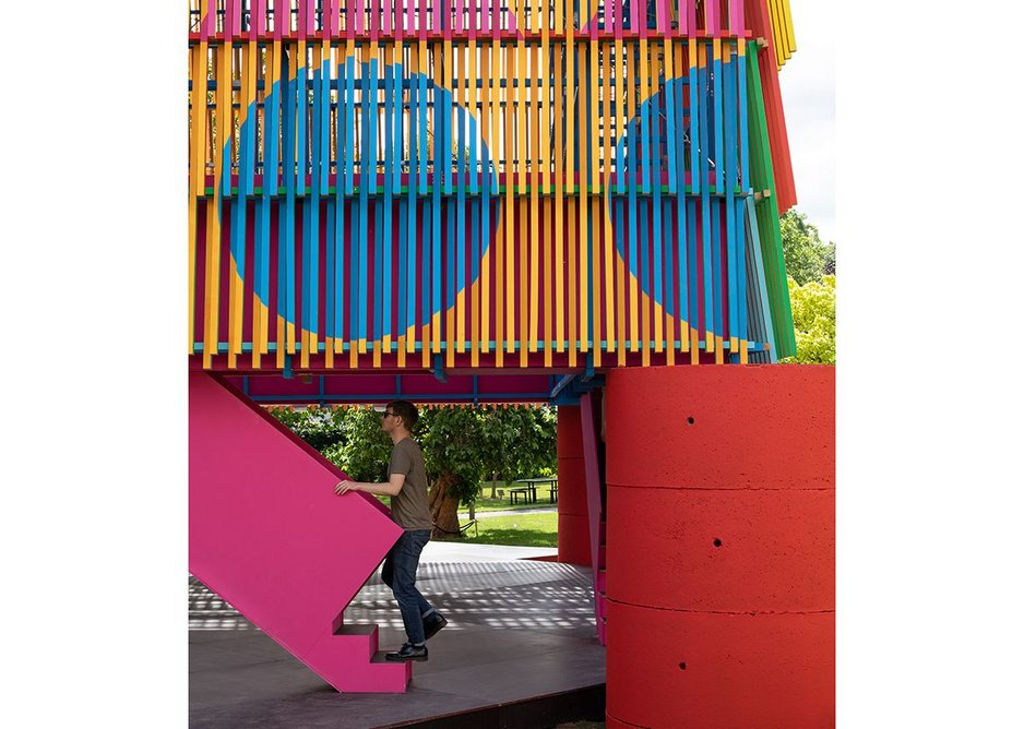 One of the two pink staircases that lead to the gantry level of the Colour Palace, a summer pavilion designed by Pricegore and Yinka Ilori at the Dulwich Picture Gallery, 2019.