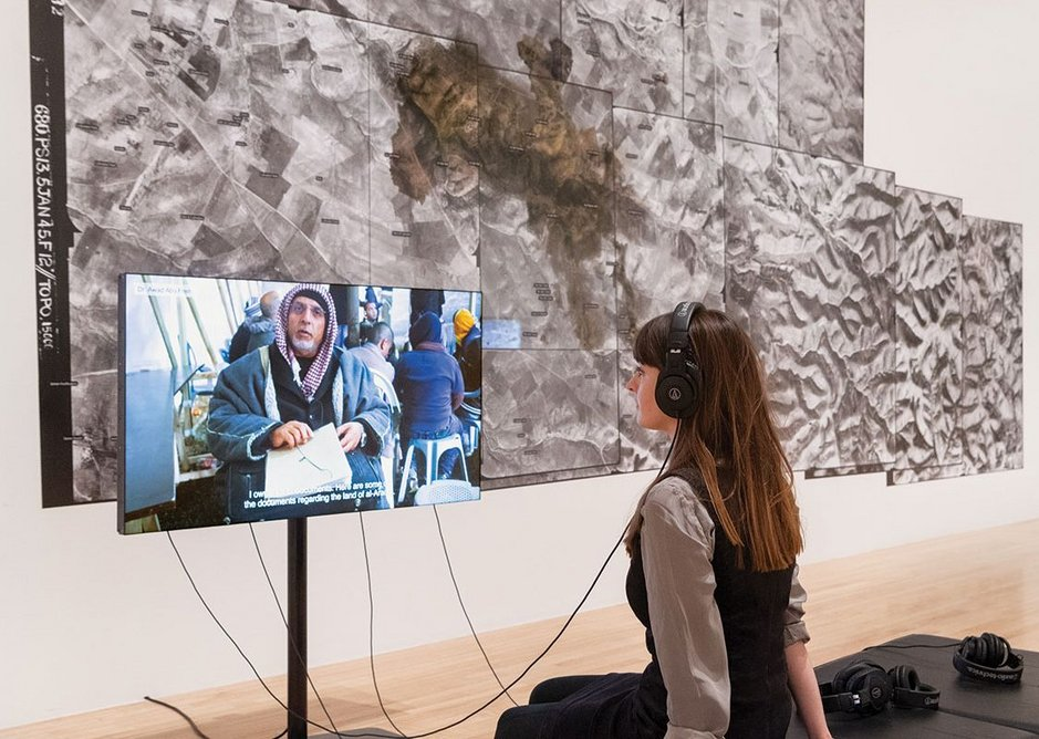 The Long Duration of a Split Second: Traces of Bedouin Inhabitation 1945-present, Negev/ Naqab, Israel/ Palestine, Investigation 2015-ongoing, video, aerial images, text. Turner Prize 2018 exhibition installation view.