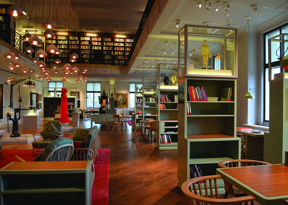 AOC's new second floor Wellcome reading room with Wilkinson Eyre's reconfigured book stacks above.