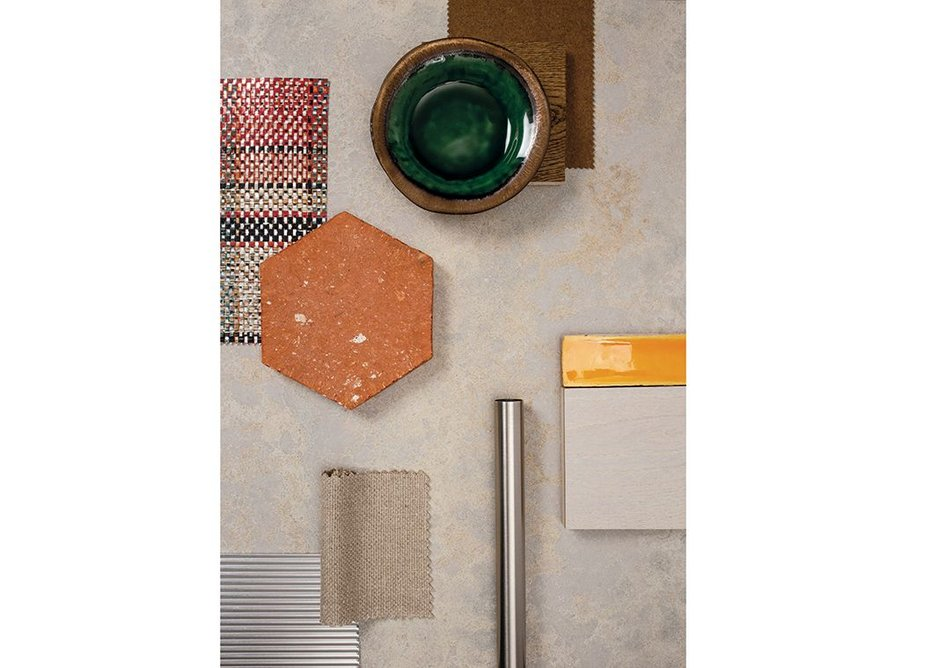 Primordia engineered quartz: raw terracotta tiles add an organic accent, brighter shots of colour reveal contrasts and glazed ceramics add richness and warmth.