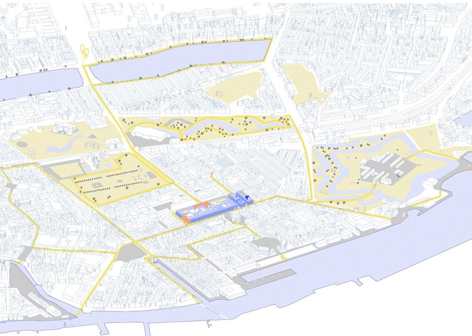 Essential services and leisure were within the blue 350x130m unit in the city centre. Recreational spaces used by Parekh are yellow.