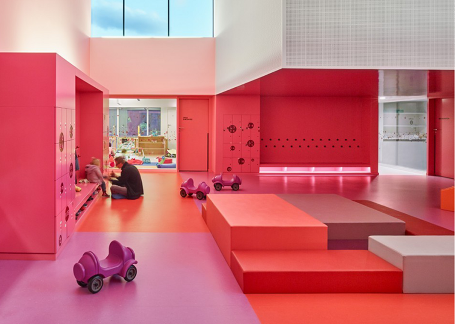 Candy shades: Colorette DLW Linoleum flooring in Power Red 0118 and Cadillac Pink 0110.