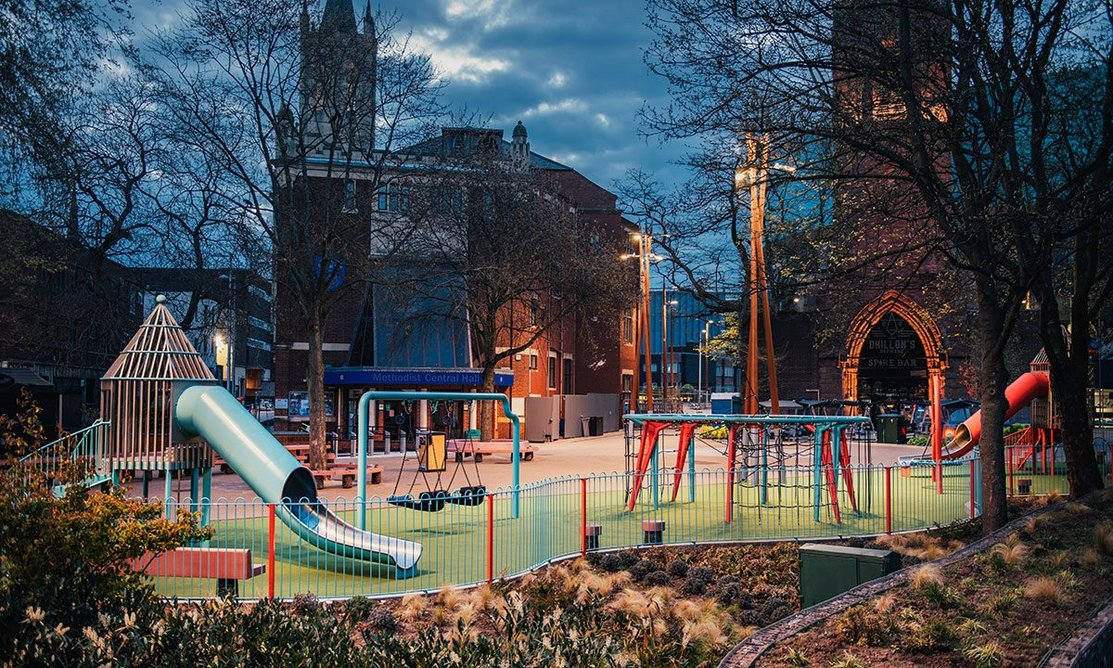 Preach Trade Play, a play area by Studio Morison at Bull Yard in Coventry. Photo: Charles Emerson. Courtesy Studio Morison