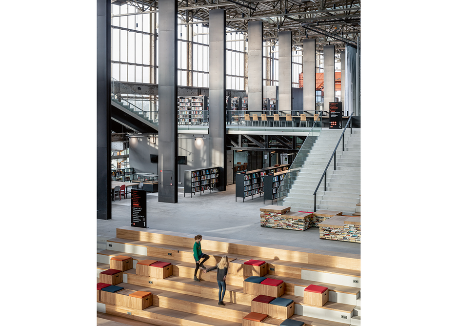 Repurposing a disused train shed to create a hybrid library/public space: Civic's LocHal in Tilburg.