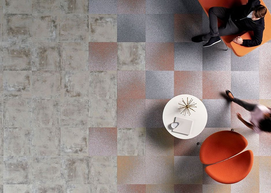 Level Set LVT flooring in Cool Polished Cement with Radial carpet tiles in Rays, Signal and Vertex.