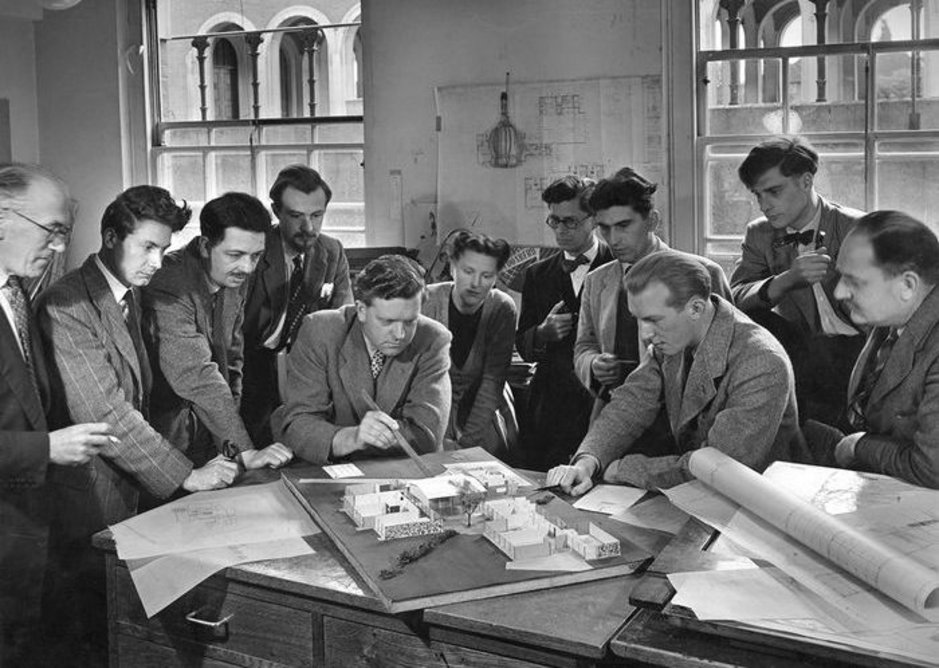 Vernon Lee, third from right, with the Hertfordshire Schools architects in 1952.