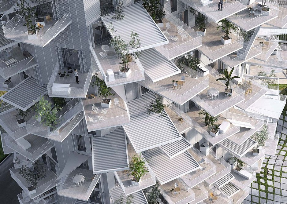 L'Arbre Blanc, Montpellier, by Sou Fujimoto Architects with Nicolas Laisne Associates, Manal Rachdi Oxo Architects, from Futures of the Future at Japan House London.