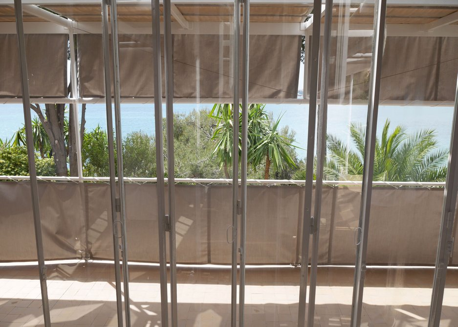 The view out through the folding glass wall.