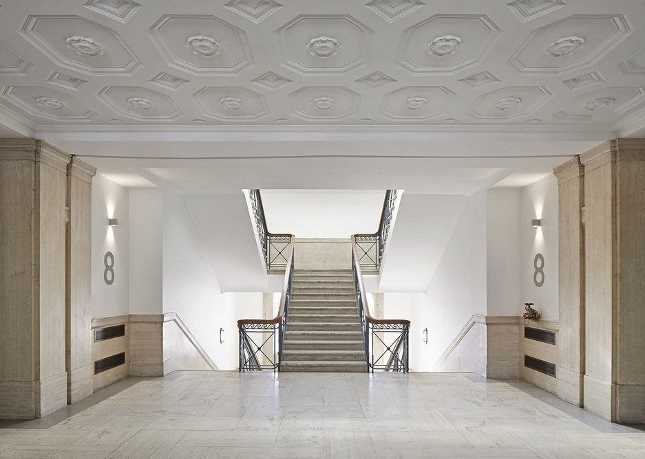 Bush House travertine lobbies have been returned to their former glory.