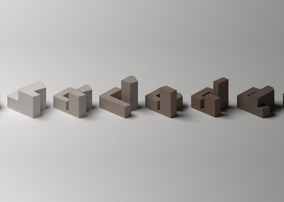 East Street site massing model studies showing proposed city block development ideas.