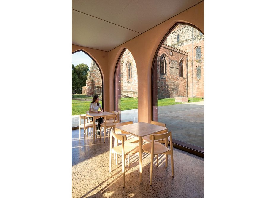 The textures of lime plaster and terrazzo soften the clean lines of the pavilion.