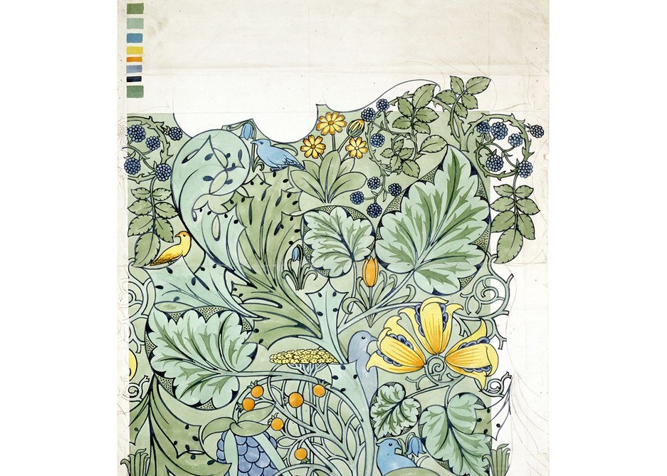 CFA Voysey, Design for a wallpaper or textile showing birds among flowers.