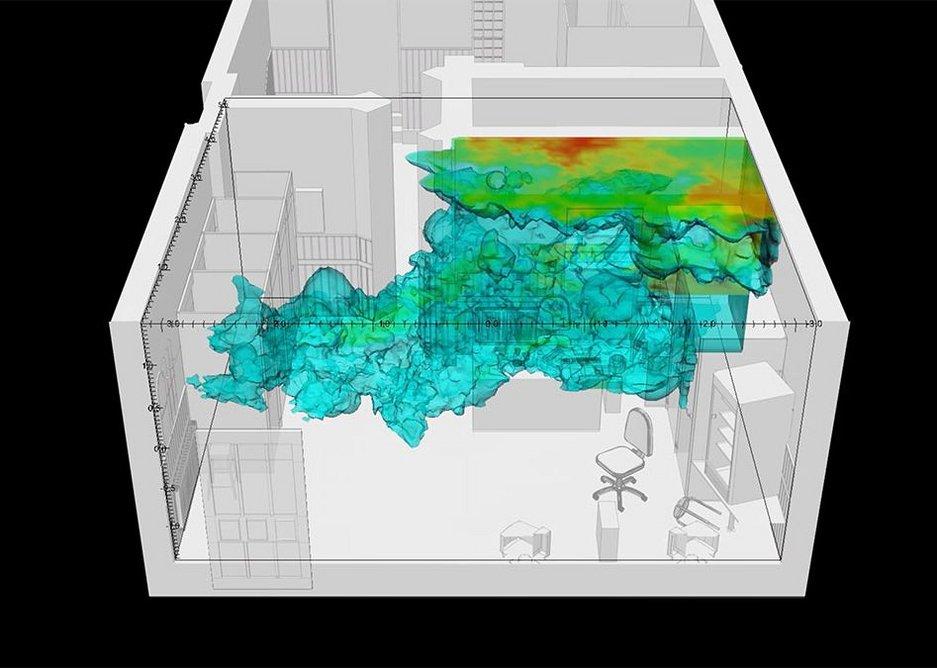 Fluid dynamics simulation of gunpowder residue particles (ammonia) in the internet café where Halit Yozgat was murdered.
