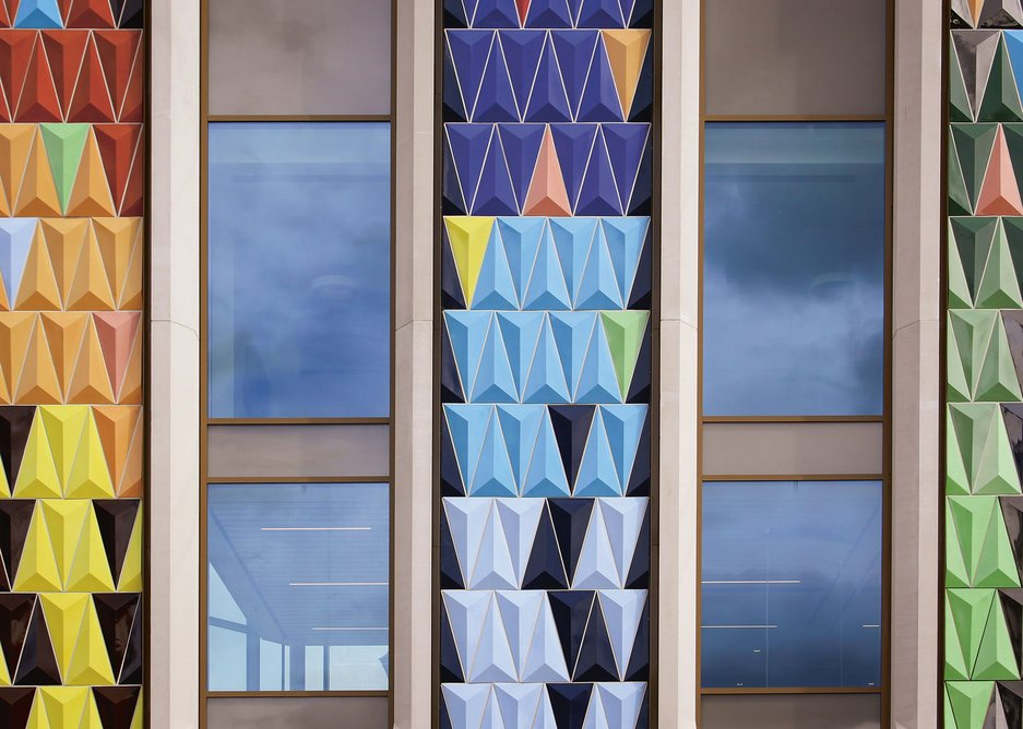 The colours and diagramatic certainty of the facade have been adopted by the theatre in graphics.