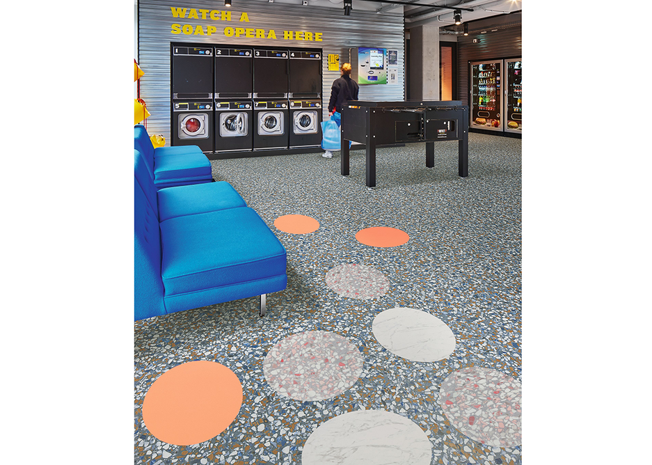 Spot on: Allura luxury vinyl tiles in Iron Cement, Pink Coral Circle, White Marble Circle and Pink Terrazzo Circle.