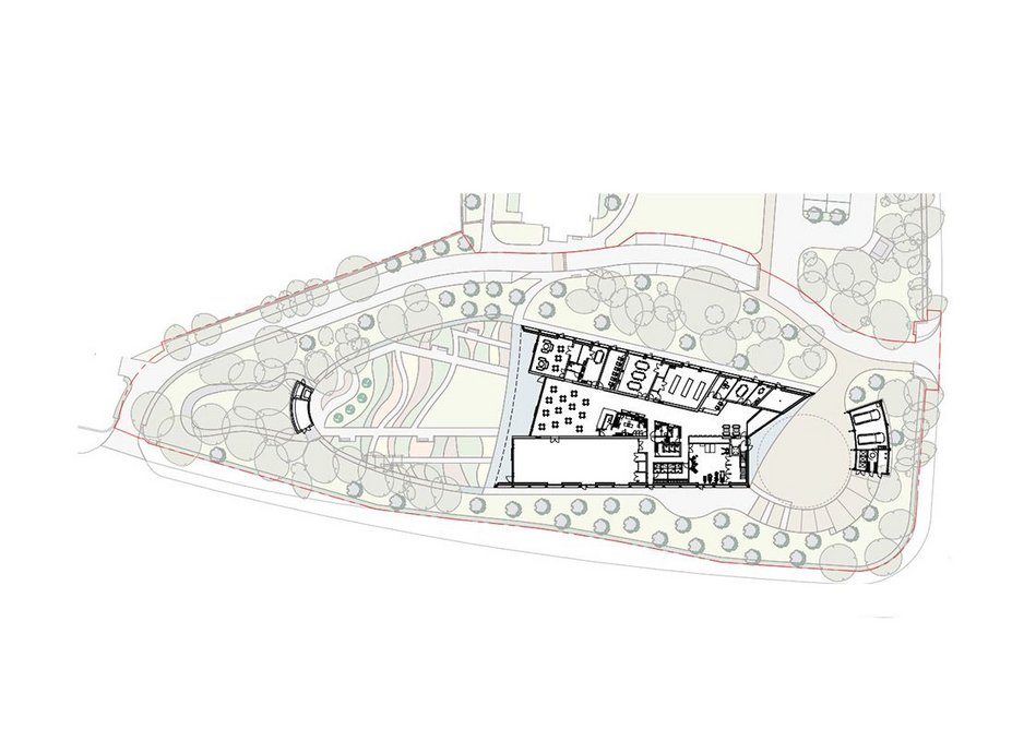Site plan showing garden and tree planting.