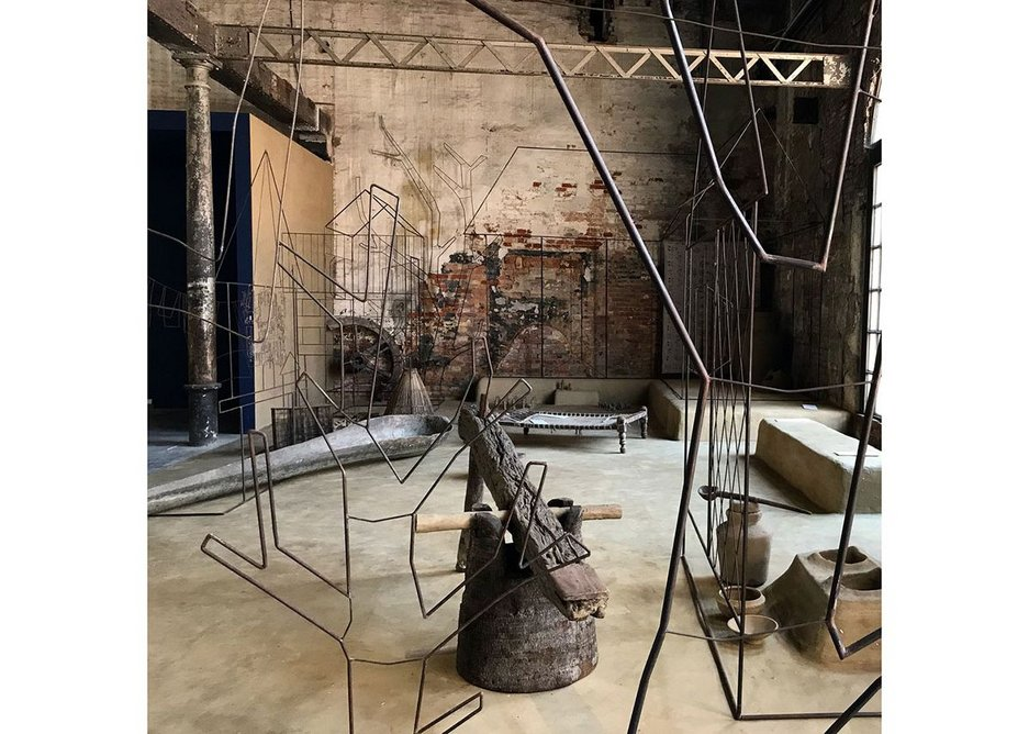 Wisdom of the Land, an installation at the Venice Biennale by Marina Tabassum and her team. The exhibit presents aspects of vernacular life of the Ganges delta of Bangladesh.
