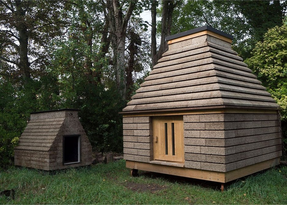 Cork Cabin around 6 months after completion with Cork Casket, completed 3 years earlier, standing next to it, 2017.