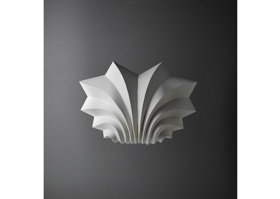 Fountain sculpture by Beep Studio made from watercolour paper and glue.