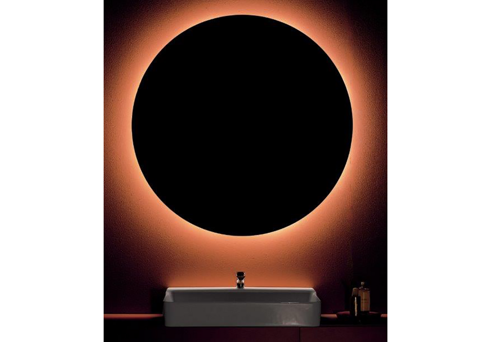 Conca 80x45cm washbasin with Conca mixer tap in Chrome, Conca two-drawer unit in Matt Sunset and Conca 100cm-diameter mirror.