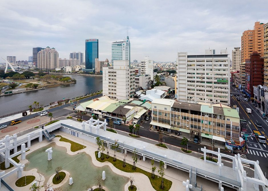 Tainan's former port canal, left, abuts directly onto one edge of the new park area.