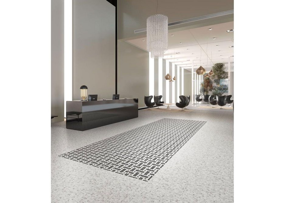Eco Stones by Onix - 98% recycled glass mosaic with a marble aesthetic suitable for floor and wall applications inside or outside www.onixmosaico.com