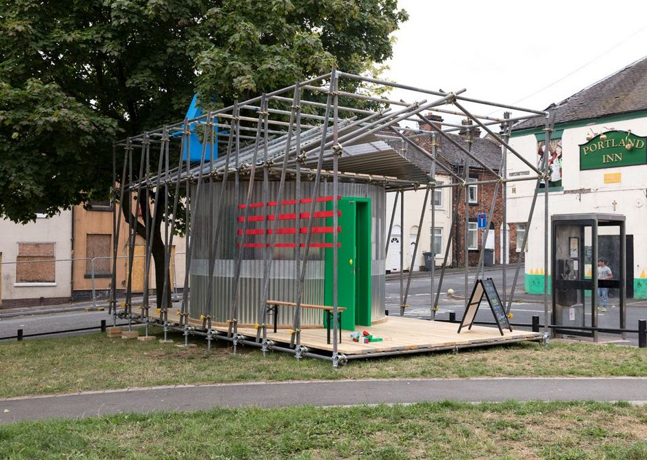 The pop-up feeds off the existing pub building.