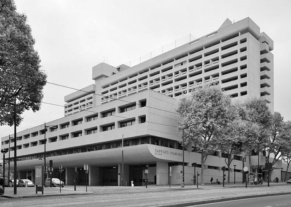 Caserne de Pompiers fire station headquarters, designed by Jean Willerval, Prvoslav Popovic, 1968-73.