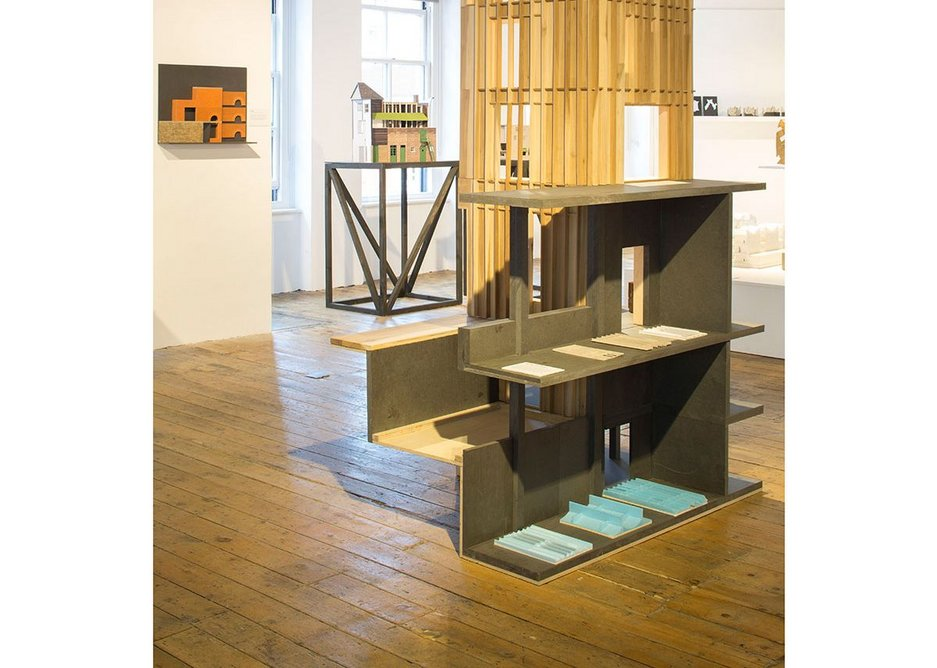 Installation view of Architecture Prototypes & Experiments showing Roz Barr Architects' tulipwood and black MDF model of an Augustinian Centre in west London, 2015.