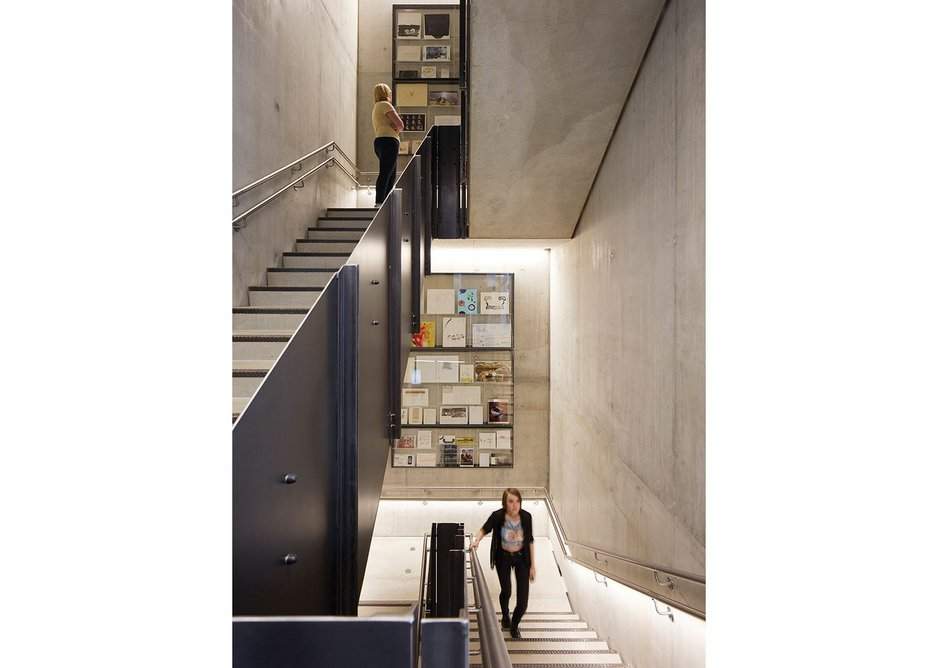 With exposed concrete cores and floors, thermal mass principles are employed in the structure.