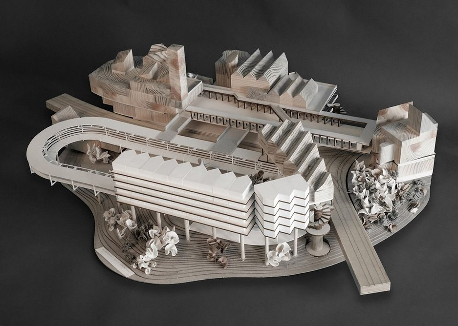 Matthew Bloomfield's The Parliamentary Campus of God's Own Country, winner of the £10,000 Turkishceramics Grand Award for Architecture. Pine, plywood, greyboard, 3D print and fabric, 100 x 80cm.