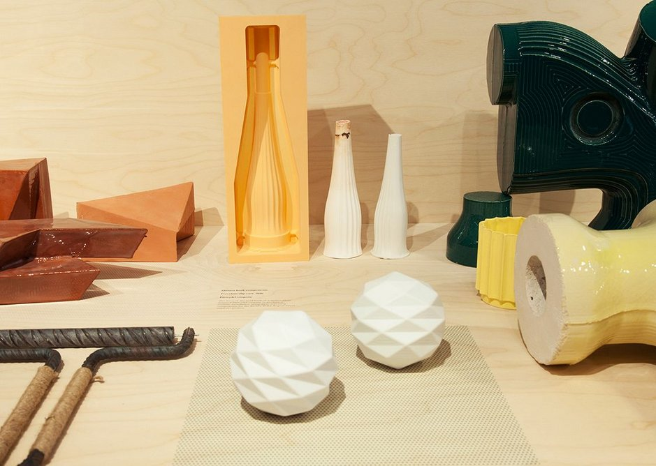 Life of Clay installation including slip cast porcelain with plastic 3D printed positive model (bottom middle).