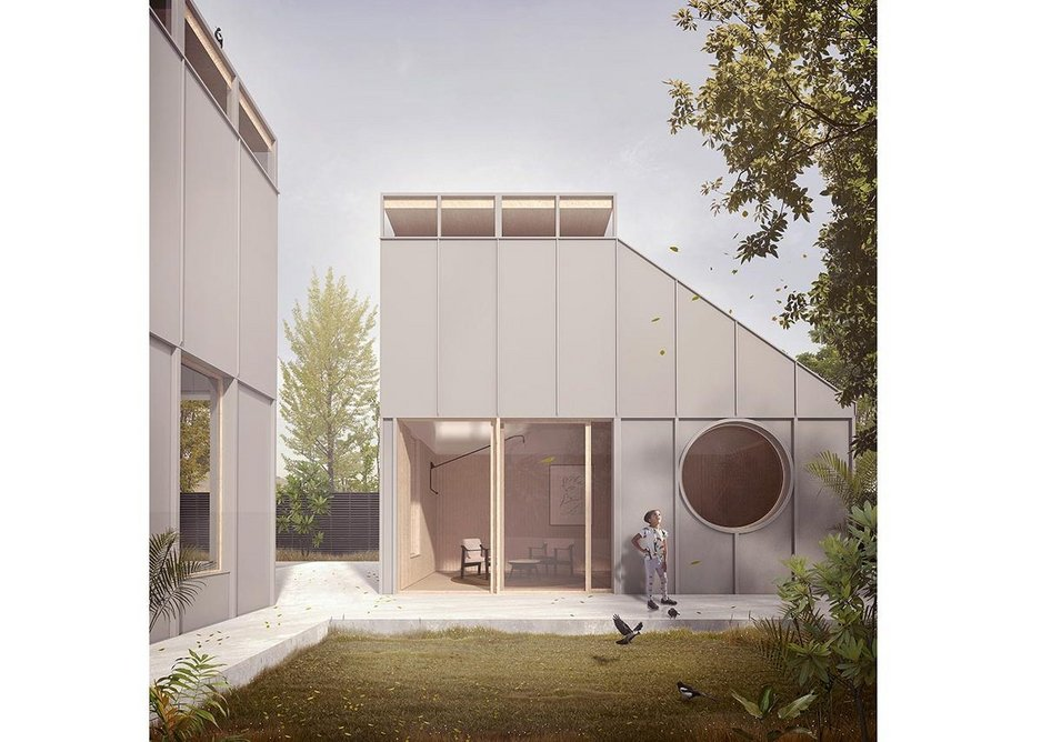 Dadu House is suitable for first-time buyers, new families and young professionals, featuring a steep pitched roof and glazed lantern roof to draw natural light into double height living areas