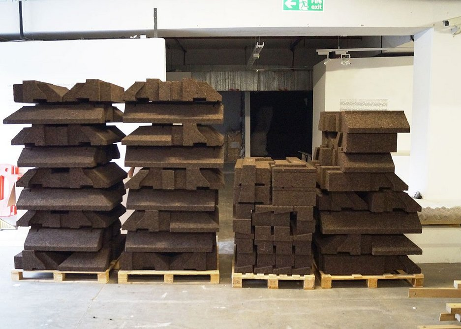 Cabin roof blocks at the Bartlett awaiting transport to site, 2017.