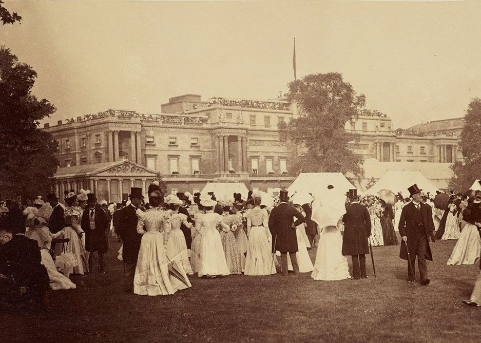 Historically, external shading devices such as awnings prevent direct heat gain from sunlight but allow natural daylight. Here Buckingham Palace is shown with awnings drawn on the day of Queen Victoria's Diamond Jubilee Party in 1897.