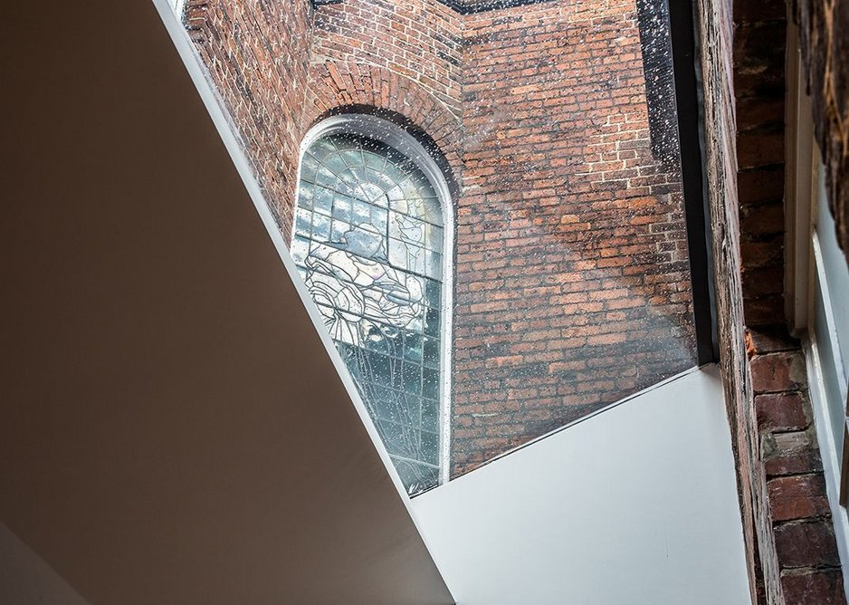 The Hollis Building refurbishment uses modern interventions to enhance historic features.