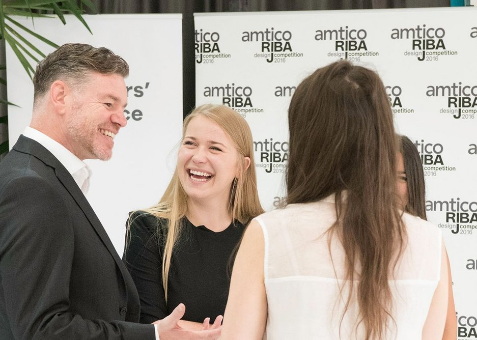 Amtico's Phil Southall with the WHAT_Architecture team.