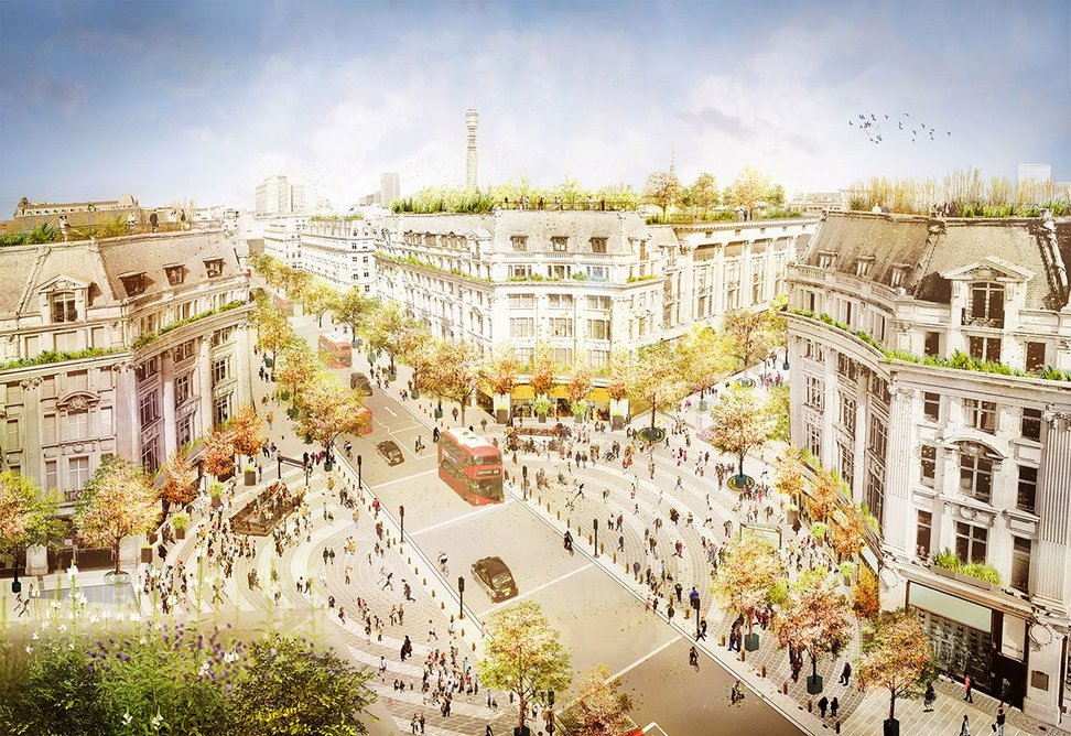 Artist's impression from a bird's-eye view showing the future transformation of Oxford Circus, with traffic continuing on Regent Street and two new piazzas on Oxford Street at either end of the circus.
