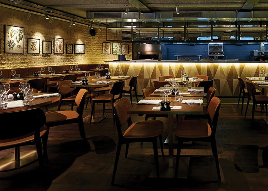 Designed by B3, Canto Corvino in London's Spitalfields uses the kitchen to help create the desired restaurant ambience.
