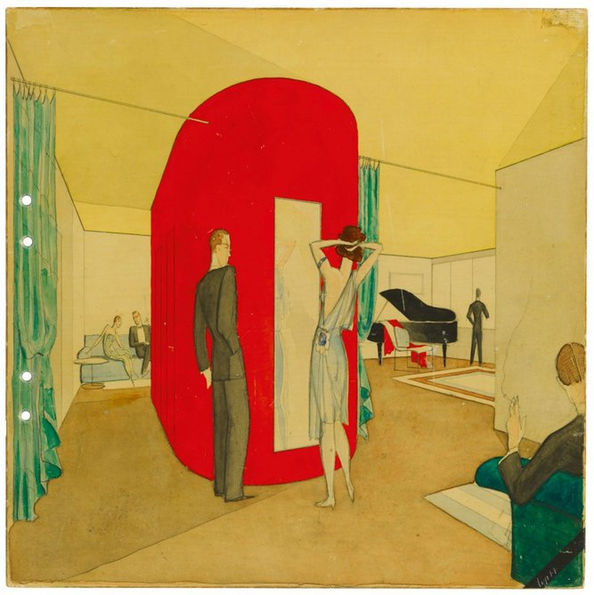 Interior perspective , Stockholm Exhibition,  rental apartment No. 2, watercolour and pencil on cardboard, ca. 1930, 30 × 30 cm, ARKM.1973-05-04818.