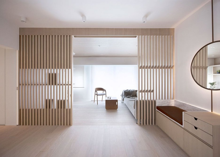 Bean Buro, Urban Cocoon for Winfield Building, Hong Kong, 2018. This private apartment for a couple and their young child creates domestic 'cocoons' for its inhabitants in a palette of light timber.