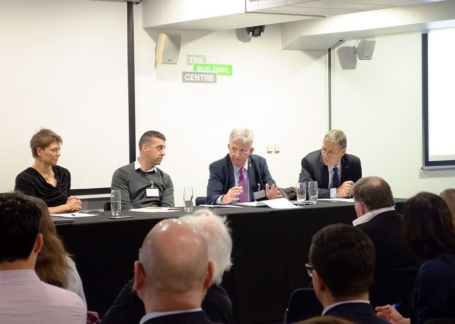 Arup's Judith Schulz, Scott Brownrigg's Mario Vieira, AHMM's Paul Bussey and chairman Richard Hull, professor of chemistry and fire science at the University of Central Lancashire.