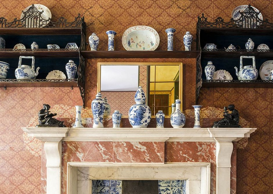 The elaborate arrangement of china above the mantlepiece in Soane's bathroom.