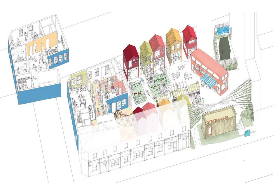 Animated axonometric drawing of the original design; the bus café and taxi office are still under construction.