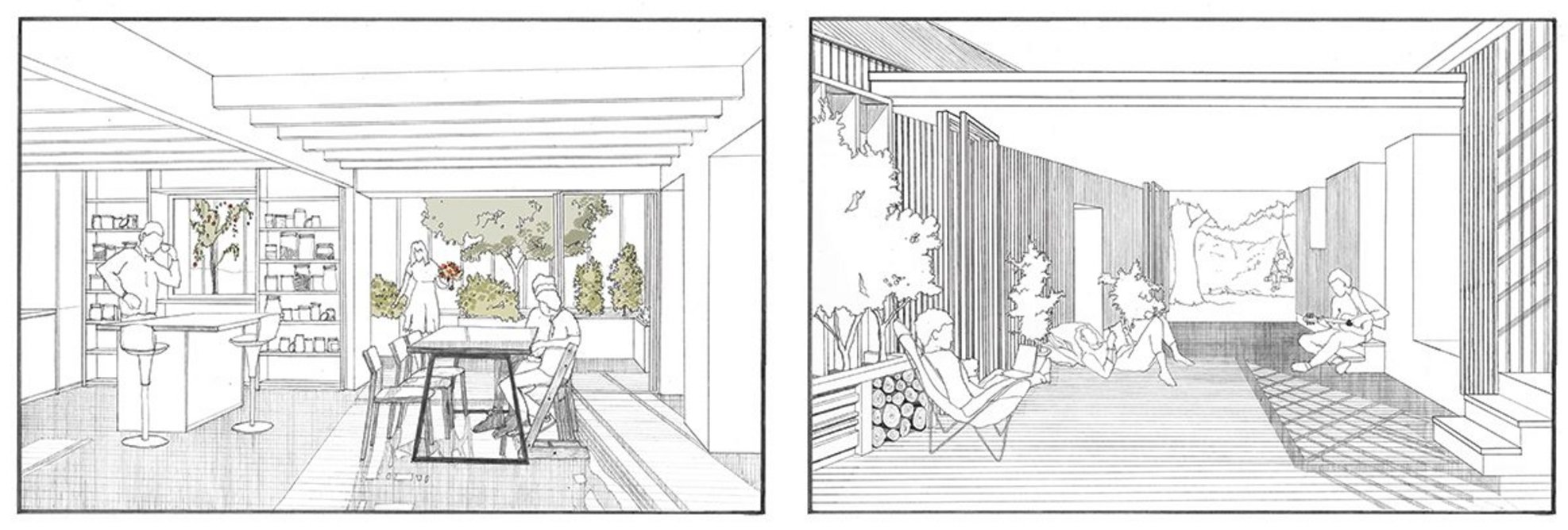 Exterior spaces provide sheltered space for relaxing and/ or working. The timber units are large and offer views to the landscape.