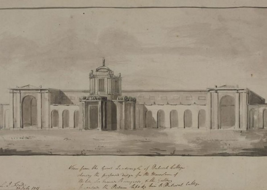A rapid Soane sketch of the east front of Dulwich after he was specified as architect.