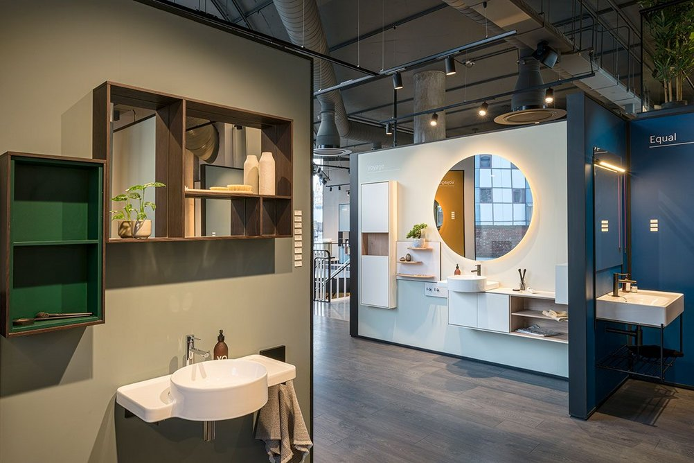 VitrA's designer bathroom collections are housed on the ground floor, including Equal by Claudio Bellini and Voyage by Arik Levy.